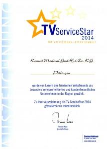 Urkunde TVServiceStar 2014